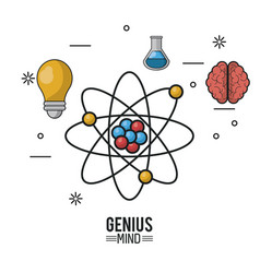 Colorful poster of genius mind with atom in vector