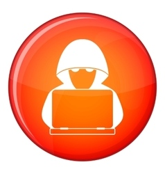 Computer hacker with laptop icon flat style vector