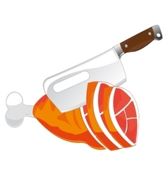 Cutlass and meat ham vector