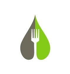 eco natural food fork logo vector image