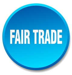 Fair trade blue round flat isolated push button vector