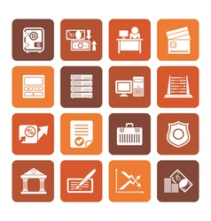 Flat bank business finance and office icons vector image