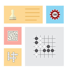 Flat icon play set of gomoku guess pawn and vector