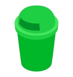 Green outdoor bin icon isometric 3d style vector