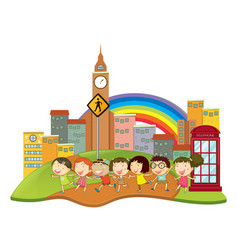 happy children in the city vector image
