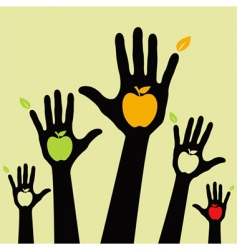 healthy apple hands vector image vector image