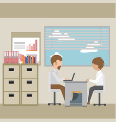 interviewing an employee in the office vector image vector image