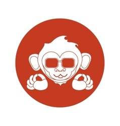Isolated monkey silhouette inside circle design vector image