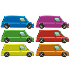 minivan in six different colors vector image