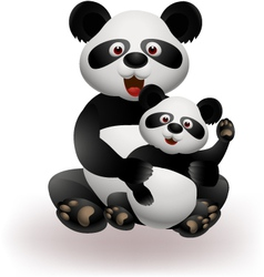 Mother and baby panda vector image vector image