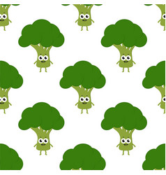 pattern with cartoon broccoli vector image