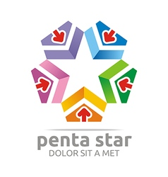 Penta house arrow design icon symbol star vector