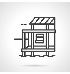 Riverside cottage black line design icon vector