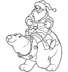 Santa claus riding on polar bear coloring page vector