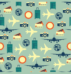 seamless pattern of travelling on airplane vector image