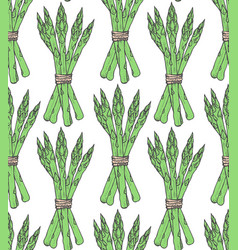 Seamless pattern with sketch style asparagus bunch vector
