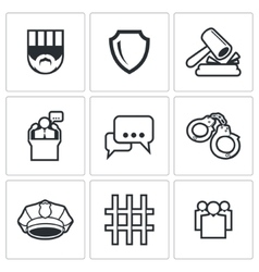 The verdict of the court and detention icons set vector