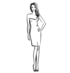 woman in dress vector image vector image