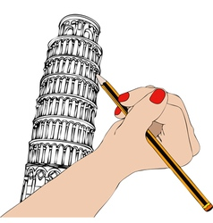 Woman that draws the tower of pisa vector