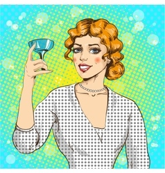 Woman with cocktail in pop vector