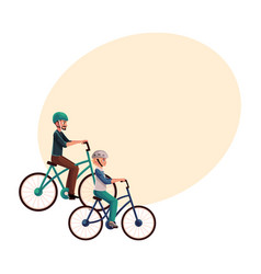 Young man riding bicycle cycling together with vector