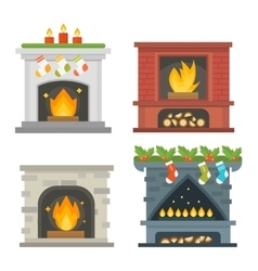 Fireplace isolated on white vector