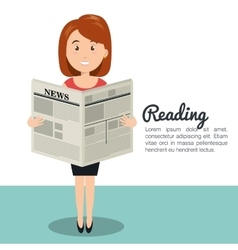 Woman reading newspaper icon vector
