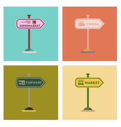 Assembly flat icons sign of market car wash cinema vector