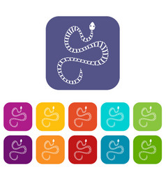 White striped snake icons set flat vector