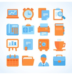 Flat icon set office and business symbols vector