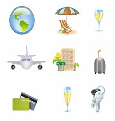 Icons set of traveling tourism and journey object vector