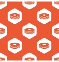 Orange hexagon disc pile pattern vector