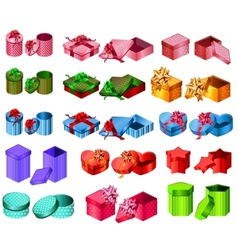Collection of different gift boxes vector