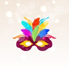 Colorful carnival mask with feathers on glowing vector