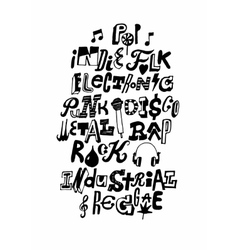 Music styles hand drawn poster vector