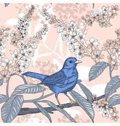 Sketch of a Birds and Flowers vector image