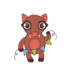 Toy wild boar with garland vector