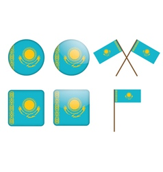 badges with flag of Kazakhstan vector image