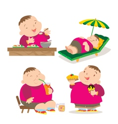 Cute fat boy eating action vector