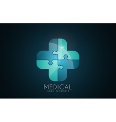 Abstract medical logo puzzle medicine logo vector