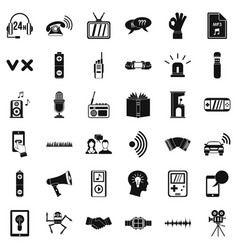 Audio icons set simple style vector
