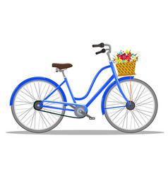 Bicycle with basket of flowers vector