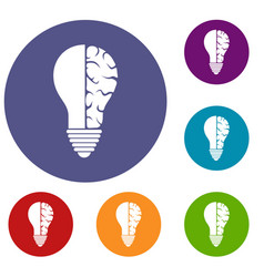 Brain lamp icons set vector