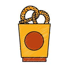 Bucket with pretzels icon vector