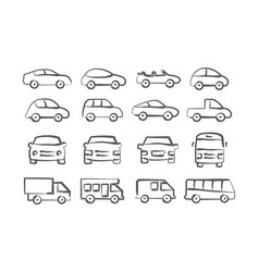 car doodle icons vector image