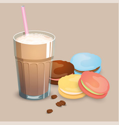 Cup with coffee drink macaroons and beans vector