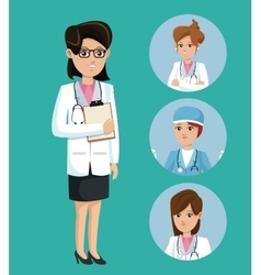 Doctor woman medical clipboard stethoscope set vector