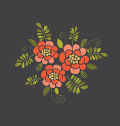 embroidery floral design vector image