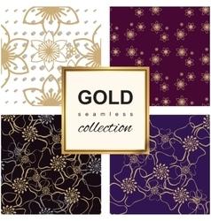 Golden luxury flower pattern set vector
