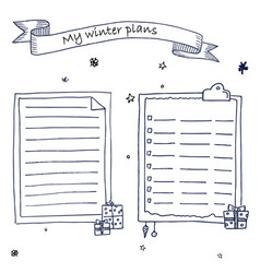 Hand drawn ink christmas plans template vector